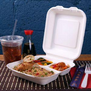 caserole biodegradabile cu 3 compartimente