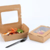 cutii kraft natur pentru meniu cu fereastra